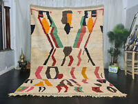 "Boujad Handmade Moroccan Vintage Rug 6'5""x9'3"" Berber Abstract Colorful Wool Rug"