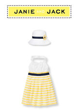 "Janie and Jack baby girl ""Sunny Stroll"" Collection Dress/Hat 2 piece Set 12-18 m"