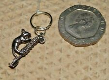 Mouse On Ear Of Corn Vintage Silver Charm For Bracelet-