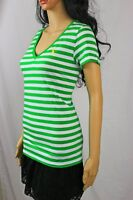 Ralph Lauren V-Neck Green And White Striped T-Shirt~Yellow Pony~NWT
