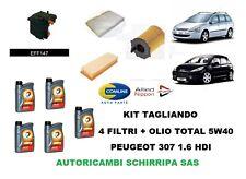 KIT TAGLIANDO OLIO + 4 FILTRI PEUGEOT 307 308 SW BREAK 1.6 HDI 90 110 CV Dal 04