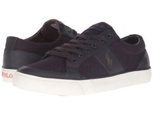 Mens Polo Ralph Lauren IAN Newport Canvas Low Top Shoe Sneakers PURPLE 11.5  D