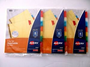 Lot Of 3 Avery Model 11111 Big Tab 8 Insertable Dividers - Total 24 Dividers