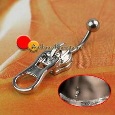 Piercing da Ombelico Zip Lampo Cerniera Argento in Acciaio Inox Body Art ap7e