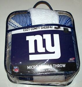 Nwt New York Giants ny Logo Plush Micro Sherpa Throw Blanket NFL Football Soft