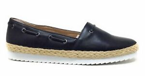 Callisto Womens Highlighter Slip On Flat Shoes Black Leather Size 8 M US