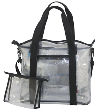 Amaro Premium Clear See Through Small Stadium Tote Bag w/Removable Pouch