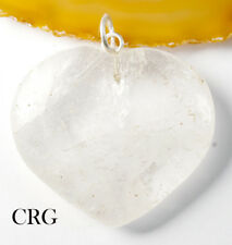 "Clear Quartz Heart Pendant w/ Silver Plated Bail 1""-1.5"" (HRT14DG-S)"