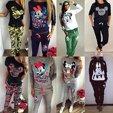 2tlg. Damen Mickey Minnie Trainingsanzug Pullover + Hose Jogginganzug Sportanzug