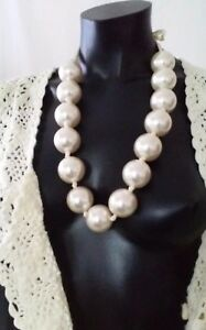 """Long Vintage Statement Chunky Large Oversize Cream Pearl Necklace Gift 25"""""""