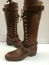 Ladies Brown Leather Boots 7 Lace 41 Knee Military Handmade Victorian Joan David
