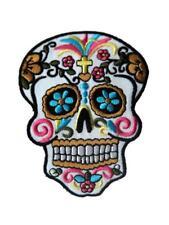Candy Sugar Skull Tatoo Punk Biker Embroidered Iron / Sew On Patch Badge Motif