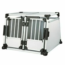 Double Transport Box Cage Crate Aluminium Two Dogs Removable Centre Partition