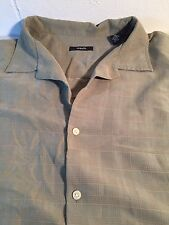 Alfani Green Checkered Short Sleeve Button Down Collared Shirt