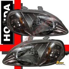 99-00 Honda Civic EK4 JDM Chrome Gunmetal Headlights RH + LH