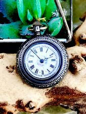 Antique Silver 800 Cylindre 10 Rubis Mechanical Pocket Watch