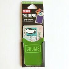 Chums The Keeper Phone Wallet New Green Silicon Card Holder 3M Adhesive Backer