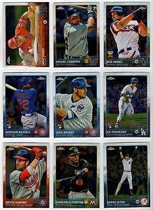 2015 Topps Chrome Baseball Base Card You Pick the Player, Finish Your Set 1-100