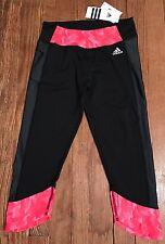 NWT Women's Adidas Clima Studio Mid Rise 3/4 Length Tights Crazy Horse Sz S Run