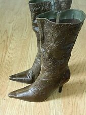 Dolcis Ladies Stiletto Calf Boots Brown Size 7 / 40