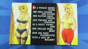 Saucy Bamforth Comic Postcard 1960s Big Boobs Nylons Stockings Panties Underwear