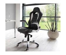 Drehstuhl, Chefsessel Bürostuhl silber/ schwarz Wippmechanik Silverstone