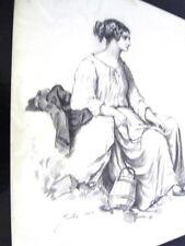 GUILLAUMET Gustave(1840-1887) LA FLEUR AU CHIGNON-DESSIN DU 19è  CRAYON NOIR (I)