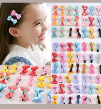 10 Toddler Girl Baby SMALL Hair Clip Ribbon Bow Satin hairpin RANDOMLY SELECTED