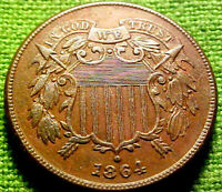 1864 Two Cent Piece 2c ~ HIGH GRADE CIVIL WAR YEAR COIN w/ SOLID DETAILS ~ 02PS
