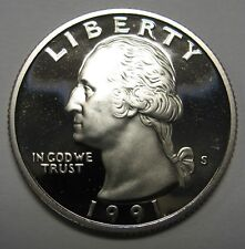 1991-S Proof Washington Clad Quarter Shipped FREE Best Price on Ebay Nice Coins!