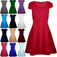 Ladies Womens Plain Cap Sleeves Round Neck Flared Swing Jersey Dress Long Top