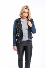 Ladies Womens PU Leather BIKER Bomber Jackets with denim patches Zip Details