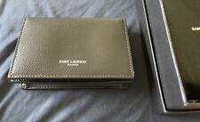 New/Authentic YSL SAINT LAURENT PARIS Black Leather Business Card Holder 469338
