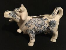 VTG  STAFFORDSHIRE  BLUE FLORAL COW CREAMER ~ ENGLAND