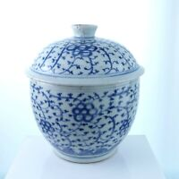 Antique Chinese Covered Jar with Hand Painted Blue Underglaze Decoration