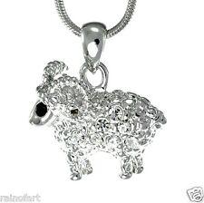 Ram Animal W Swarovski Crystal Aries Sheep Charm Pendant Necklace Jewelry Gift