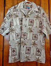 Joe Kealoha Reyn Spooner Hawaiian Shirt L Brown Palm Trees Coconut Look Buttons