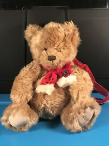 "RARE! Harrod's (London) Holiday Teddybear Curly Plush Backpack 14"""