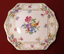 Hammersley England DRESDEN SPRAYS Cake Plate Tray-Scalloped Gold Wild Rose