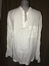 Banana Republic white 100% LINEN single pocket pullover mens tunic shirt L