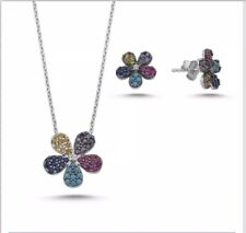 Sterling Silver 925 Flower Multi Gems Jewellery Set With Necklace & Stud Earring