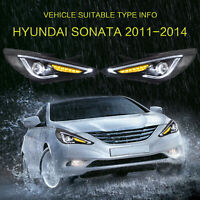 Left+Right Lens LED Sequential Headlights Projector for 2011-2014 Hyundai Sonata
