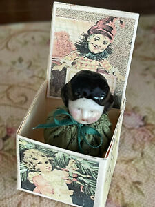 Vintage Miniature Dollhouse Artisan Porcelain & Silk Jack in the Box China Head