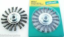 "2 WOLFCRAFT 4-1/2"" KNOTTED TWISTED WIRE WHEELS 5/8""-11 FITS ANGLE GRINDER #2149"