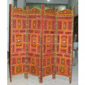 MADE TO ORDER Hand Carved Indian 4 Panel Screen Room Divider Floral Red Painted