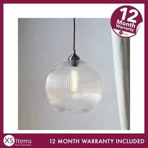 The White Company Overton Ribbed Glass Pendant Light Clear Round RRP £150