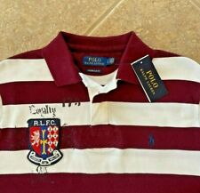 Polo Ralph Lauren Mesh Polo Shirt L Eton Field Custom Slim Fit Red Striped NWT