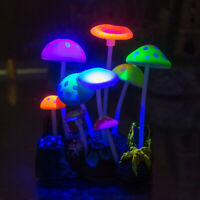 Aquarium Decorations Glowing Effect Artificial Mushroom for Fish Tank