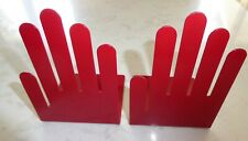 Vintage Pop Art Spectrum Designs Metal Hand Book Ends Red Mid Century Bookends