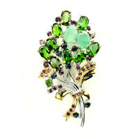 Oval Emerald Chrome Diopside Rhodolite Sapphire 925 Sterling Silver Brooch